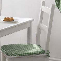 Gingham Check Tie On Seat Pad - Green