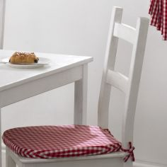 Gingham Check Tie On Seat Pad - Red