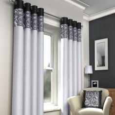 Skye Fully Lined Eyelet Curtains - Black & Silver