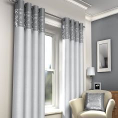 Skye Fully Lined Eyelet Curtains - Silver Grey