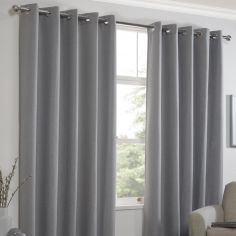 Linen Look Textured Thermal Blockout Ring Top Curtains - Silver Grey
