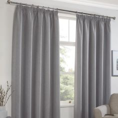 Linen Look Textured Thermal Blockout Tape Top Curtains - Silver Grey