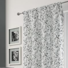 Freya Floral Leaf Voile Curtain Panel - Grey