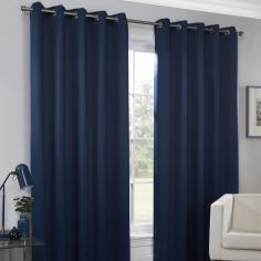 Plain Eyelet Ring Top Thermal Blockout Curtains - Navy Blue