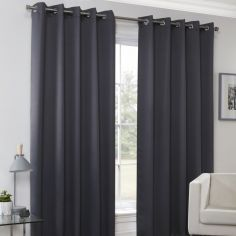 Plain Eyelet Ring Top Thermal Blockout Curtains - Charcoal Grey