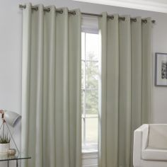 Plain Eyelet Ring Top Thermal Blockout Curtains - Natural
