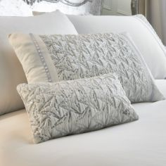 Zenia Sequin Glitter Filled Boudoir Cushion - White