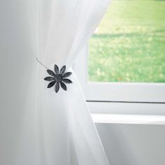 Margery Flower Metal Magnetic Tieback - Black Silver