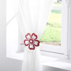 Petaly Flower Metal Brooch Tieback - Red