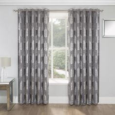 Ritz Leaf Fully Lined Eyelet Curtains - Silver Grey