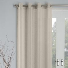 Linen Look Palm Eyelet Voile Curtain Panel - Natural