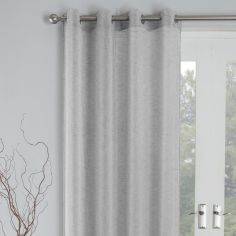 Linen Look Palm Eyelet Voile Curtain Panel - Silver Grey