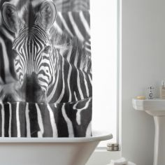 Hookless Zebra Shower Curtain - Black White