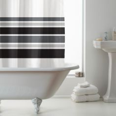 Hookless Stripe Shower Curtain - Black & White