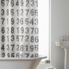 Hookless Numbers Shower Curtain - Grey
