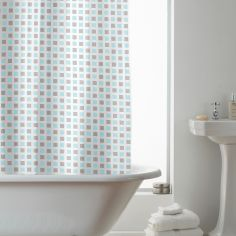 Hookless Squares Geometric Shower Curtain - Brown Blue
