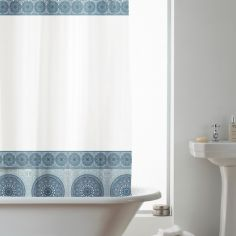 Geometric PEVA Shower Curtain - Blue