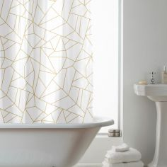 Hookless Geometric Shower Curtain - Gold