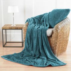 Chevron Microfibre Blanket Throw - Teal Blue