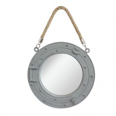 Porthole Round Mirror with Rope - Grey