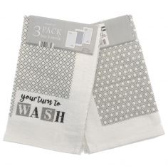 Your Turn To Wash Pack of 3 Kitchen Towels - Grey Multi