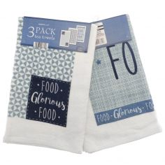 Food Glorious Food Pack of 3 Kitchen Towels - Blue Multi