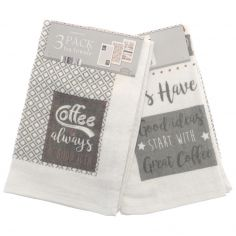 Coffee Breakfast Pack of 3 Kitchen Towels - Multi