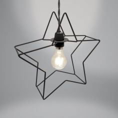 Metal Star Light Fitting - Black