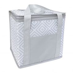 Geometric Sandwich Cooler Bag - Grey