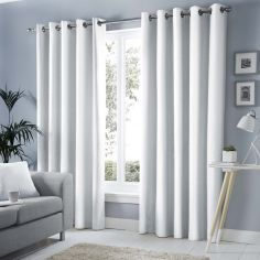 Sorbonne Fully Lined Eyelet Curtains - White
