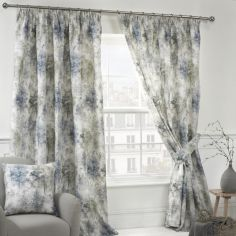 Woodland Floral Fully Lined Tape Top Curtains - Blue Multi