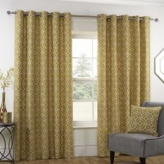 Kelso Geometric Fully Lined Eyelet Curtains - Ochre Yellow