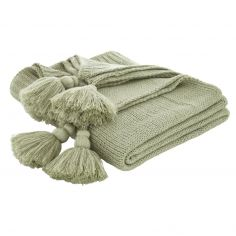 Bianca Tassel Knit Throw - Green