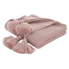 Bianca Tassel Knit Throw - Blush Pink