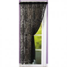 Holly Damask Laced Black Voile Curtain Panel