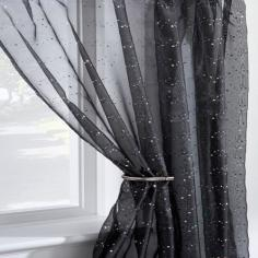Disco Sparkle Black Voile Curtain Panel