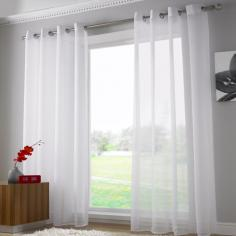 Plain White Ring Top Voile Curtain Panel