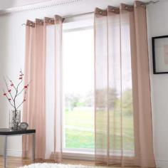 Coffee Ring Top Voile Curtain Panel