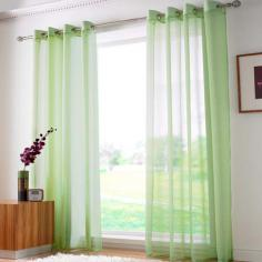 Lime Green Ring Top Voile Curtain Panel