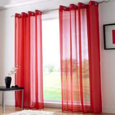 Red Ring Top Voile Curtain Panel