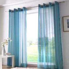 Ring Top Teal Voile Curtain Panel