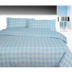 Blue Check Flannelette Duvet Cover Set