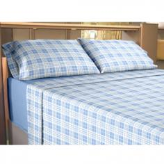 Flannelette 100% Cotton Sheet Set Check - Blue