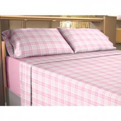 Flannelette 100% Cotton Sheet Set Check Pink