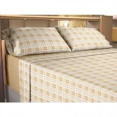 Flannelette 100% Cotton Sheet Set Check Beige