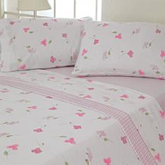 Flannelette 100% Cotton Flat Sheet Set Lilly Pink
