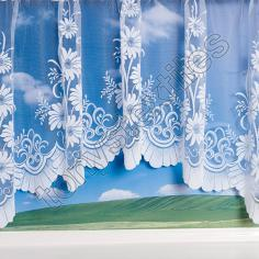 Daisy Pattern Jardiniere Net Curtain - White