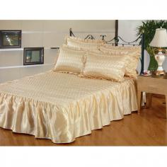 Gold Quilted Satin Bedspread Set
