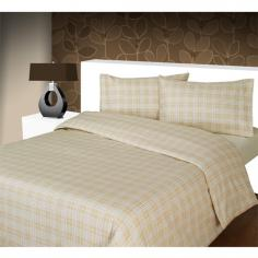 Beige Check Flannelette Duvet Cover Set