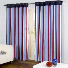 Padstow Marine (Blue/Red) Eyelet Ring Top Curtains
